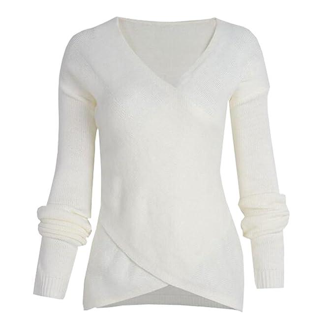 d61870db9e1c1b ZKOO Maglione Donna Manica Lunga V-collo Maglioni di Maglia Wrap Croce  Maglieria Knitted Pullover