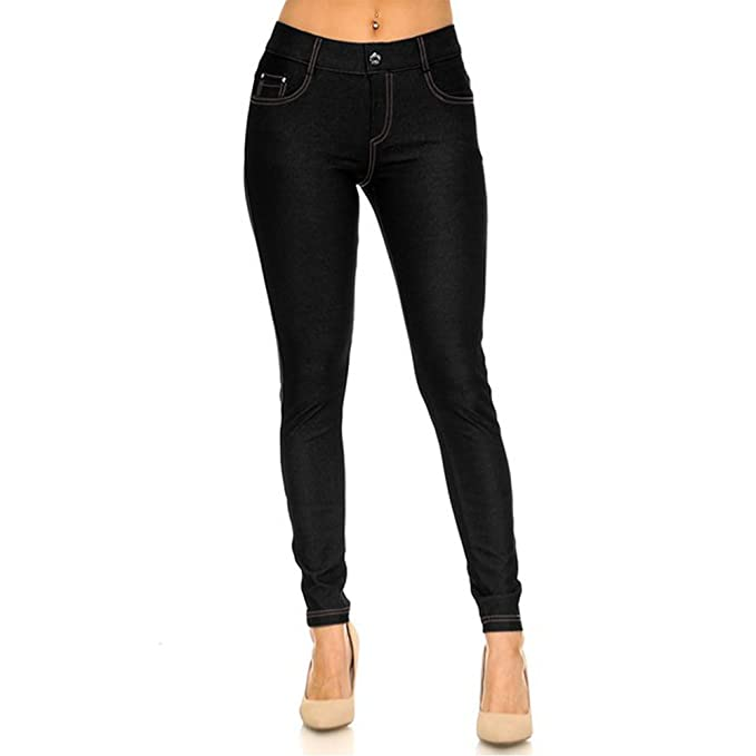 0f3d6d4d9d5a2 TZ Promise Women's Solid Color Soft Skinny Stretch Pants Full Length  Jeggings with 5 Pockets Size S-L