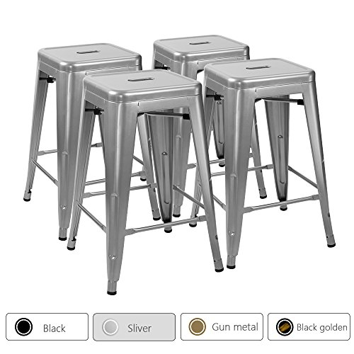 Furmax 24'' metal stools High Backless Silver Metal Indoor-Outdoor Counter Height stackable bar Stools(Set of 4) (Counter Bar Sets Patio And Height)
