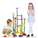 Shinehalo Marble Run Toy 105 PCS Big Size, Marble Runs STEM Educational Learning Toy, DIY Construction Marble Race Run Maze Balls Track Building Blocks Building Blocks Toy for Boys Girls 4 5 6 7 8 Year Old