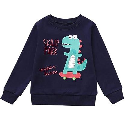 feiXIANG Ropa para niños Ropa recién Nacida otoño e Invierno bebé niño Dinosaurio Letra de Manga