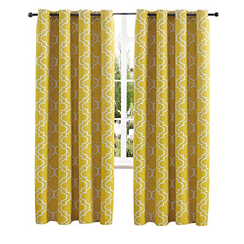 Christmas Room Darkening Thermal Insulated Curtains for Living Room Blackout Curtains for Bedroom Moroccan Print Grommet Window Curtain 52 x 84 inches Set of 2 Panels Bright Yellow