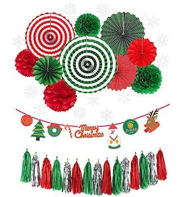 LUCKKYY Christmas Decoration Kit,Paper Fan Party Decorations Kit DIY Ceiling Hanging Paper Fans,Merry Christmas Banting Banner,Christmas Tassel Garland -