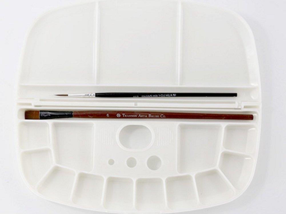Chytaii Pallett di pittura a L Olio acquerello Oval in plastica pieghevole con copertina multifunzionale foro per tenere
