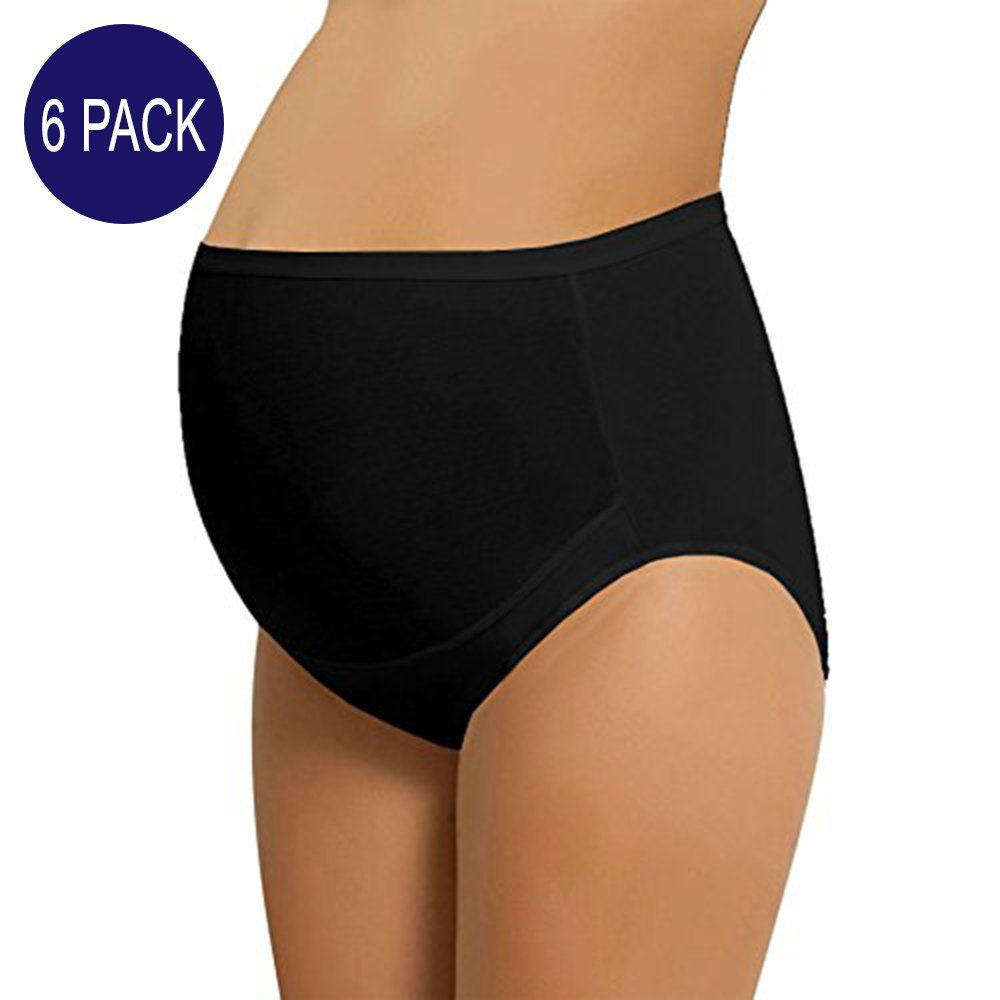 NBB 6 Pack Women's Adjustable Cotton Maternity Underwear High Cut Brief Panties (Large - 6 Pack, Black)