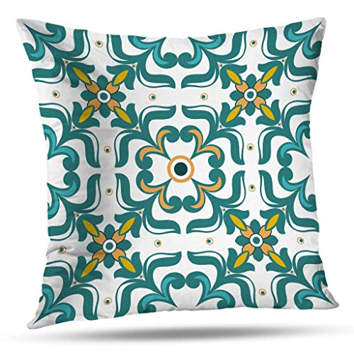 KJONG Moroccan Pattern Square Decorative Pillow Case 18 x 18 inch Pillow Cover for Bedroom Living Room Vintage Flower Floral Pattern Abstract Wallpaper Royal Fabric (Two Sides ()