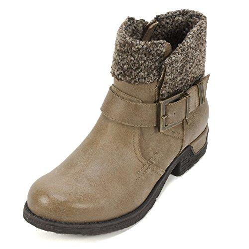 WHITE MOUNTAIN Women's Riza Ankle Bootie, Tan, 7 M (Womens Mountain Ankle Boot)