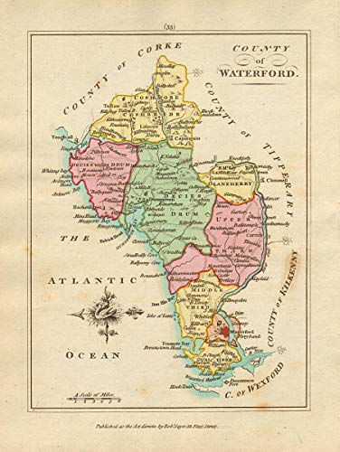 Amazon Com County Of Waterford Munster Antique Copperplate Map By