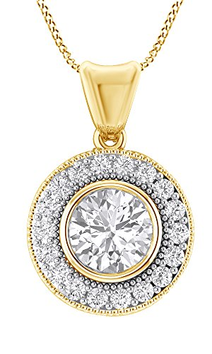 Jewel Zone US Round Cut Moissanite Cluster Halo Pendant in 10K Solid Yellow Gold (1 cttw) ()
