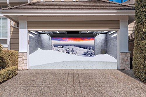 Christmas Garage Door Murals Billboard for 2 Car Garage Door Merry Christmas Decorations Full Color Print Covers Banners Outdoor Holiday size 82x188 inches House Decor DAV40 (Halloween Door Cover Ideas)
