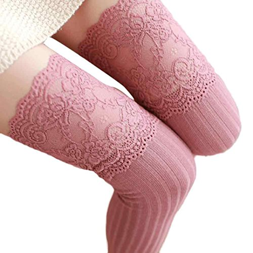 Voberry Women Socks Straight Tube Stockings Lace Trim Leg Warmer Sock (Pink) (Thigh High Socks)