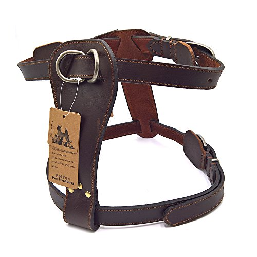PetFun Brown Exclusive Genuine Leather Adjustable Halti Harness for Dog (Martingale Leather Harness)