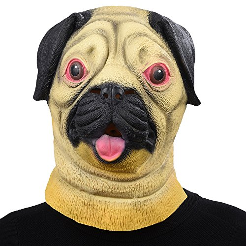 [PARTY STORY Pug Dog Latex Animal Head Mask Novelty Halloween Costume Rubber Masks] (Pug Costumes For Christmas)