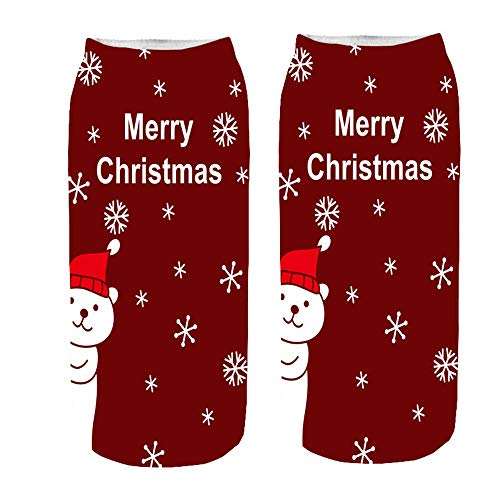 ✈HYIRI 2018 new Christmas Cotton Short Print Sock , Comfortable Slippers Ankle Socks]()
