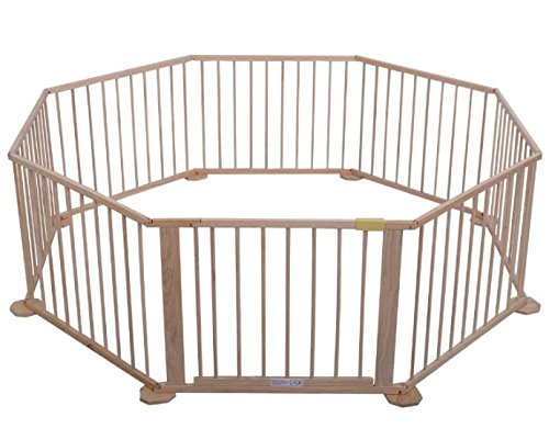 K&A Company Baby Playpen Panel Foldable Wooden Frame Kids Play Center Yard Indoor 8 Outdoor by K&A Company