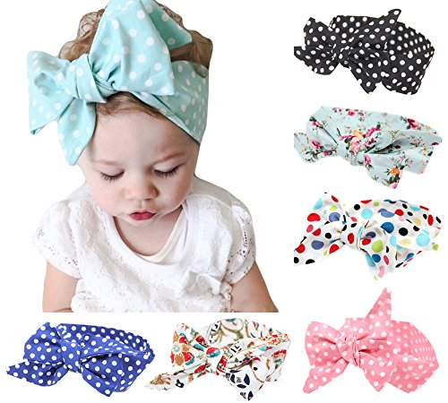 American Trends Baby Girl Big Bow Elastic Headbands Cute Turban Hairband (FBA)(I-9 Pairs-Mix Color)