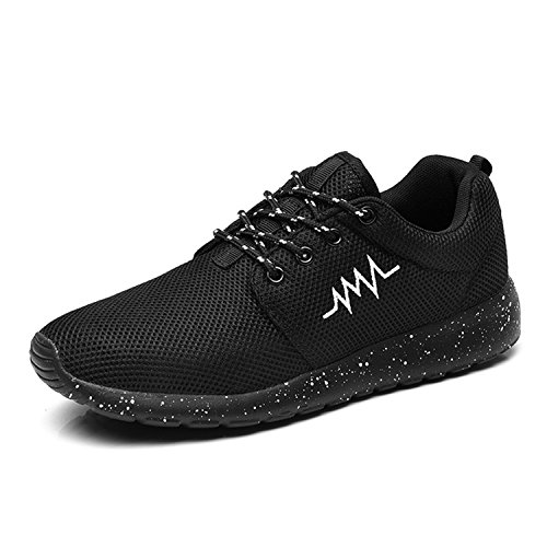 Mens Running Trainers Breathable Gym Walking Shoes Lightweight Athletic Sneakers Size 5UK-13UK Black-2 Ern26