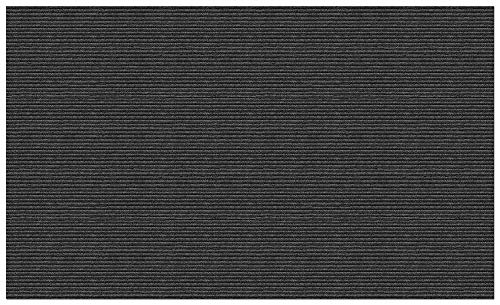 House, Home and More Indoor/Outdoor Double-Ribbed Carpet with Skid-Resistant Rubber Backing - Smokey Black 6' x 10'