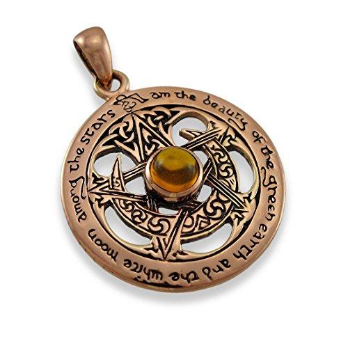 Copper Crescent Moon Pentacle Pendant Pagan Amber