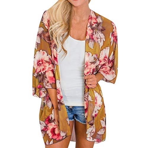 Cenglings Women Summer Open Front Half Sleeve Beach Floral Chiffon Kimono Loose Blouse Sun Protection Bathing Suit Cover Ups Yellow
