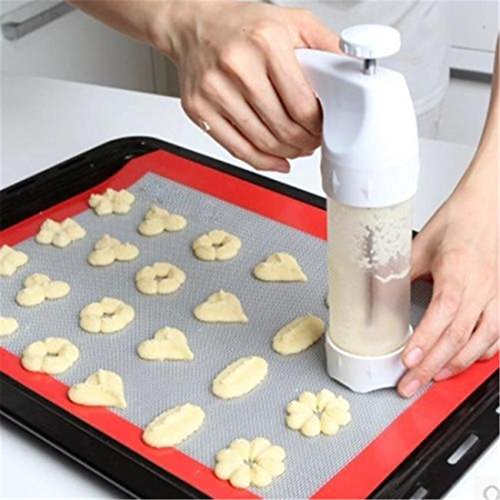 VWH Gebäck Cookie Pro Gebäckpresse, 12 Plätzchen-Formen, 6 Spritztüllen