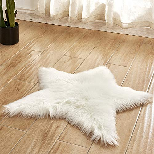 JUNMAO Decoratives Star Shape Area Rug Solid Faux Fur Shag Rug Cushion Rug Doormat Non-Slip Bath Mat Carpets for Hardwood Floors Chair Sofa Bedroom Living Room (WH, 24'')