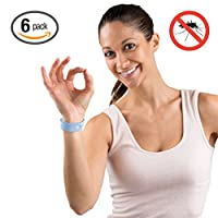 Hoont™ Natural Mosquito Repellent Citronella Wristband – Pack of 6 / Powerful Natural Oils Mosquito Protection / Comfortable MicroFiber Fabric with Adjustable Snap - Fits All Ages (Blue)