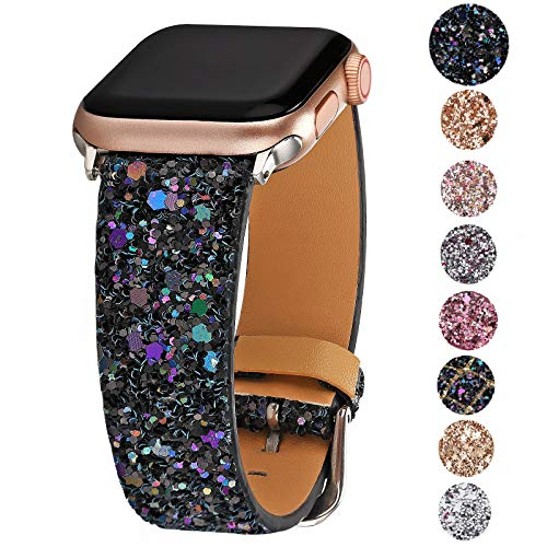 Greaciary Glitter Bling Band Compatible for Apple Watch 38mm 40mm 42mm 44mm,Leather Luxury Shiny Sparkle Women Replacement iWatch Strap Wristbands for iWatch Series ()
