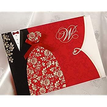 amazon com wishmade 100x red wedding invitations cards kit with