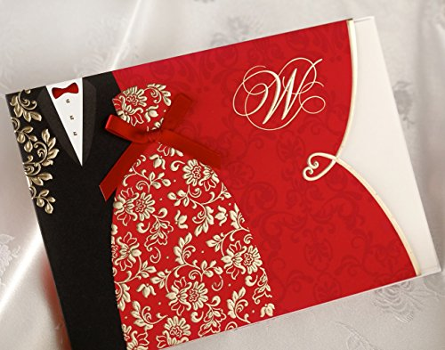 (Wishmade 100X Red Wedding Invitations Cards Kit With Envelopes and Seals CW1051)