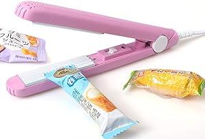 Mini Bag Heat Sealer, Portable Handheld Sealing Household Snack Chips Bag Sealing Machine for Kitchen Plastic Food Bag Storage (Pink)