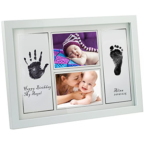 Gimars-Large-33x5-Reusable-Safety-Ink-Pad-Glass-4x6-Babyprints-Handprint-Footprint-Newborn-Baby-Photo-Frame-Kit-with-6-Sheet-Thick-Paper-to-Create-Babys-Prints-A-Perfect-Baby-Shower-Gift