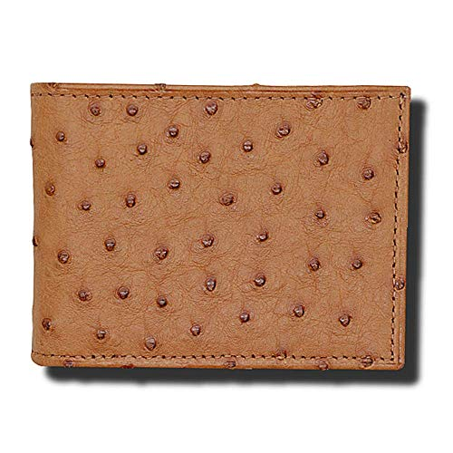 Cognac Genuine Ostrich Bifold Wallets for Men - RFID Blocking - American Factory Direct - Gift Box - Made in USA by Real Leather Creations ()