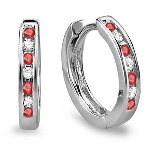 Dazzlingrock Collection 10k Small Round White Diamond & Ruby Huggie Hoop Earrings 1/5 CT, White Gold