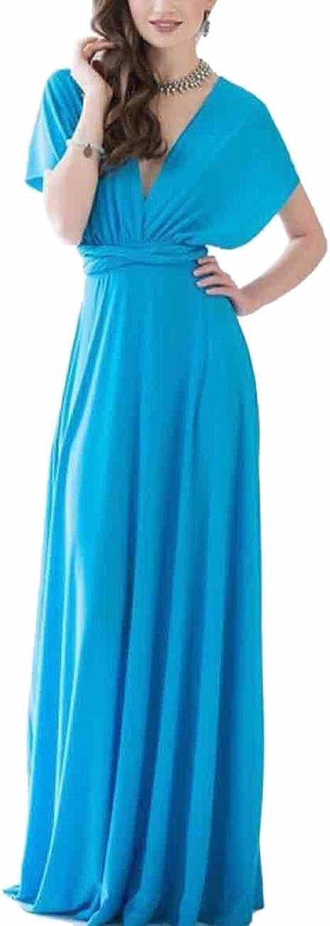 TALLA XL. EMMA Mujeres Falda Larga de Cóctel Vestido de Noche Dama de Honor Elegante sin Respaldo Agua Azul XL