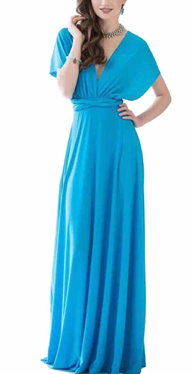 TALLA M. EMMA Mujeres Falda Larga de Cóctel Vestido de Noche Dama de Honor Elegante sin Respaldo Agua Azul