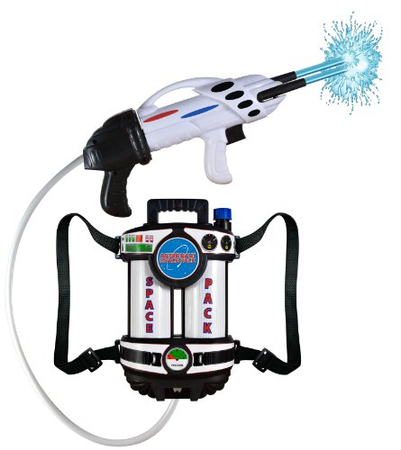 Aeromax Astronaut Space Pack Super Water Blaster with fully adjustable straps for comfort and control.]()