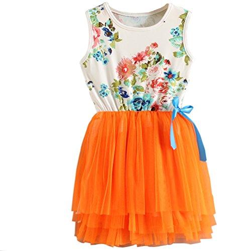 (Csbks 1 2 3 4 5 Years Kid Girls Cute Floral Sundress Tulle Tutu Skirt Tank Dress 3T)