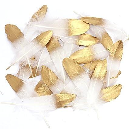Coceca 55pcs plumas manualidades naturales blancas de la lixiviación de oro, utilizada para diversas fiestas