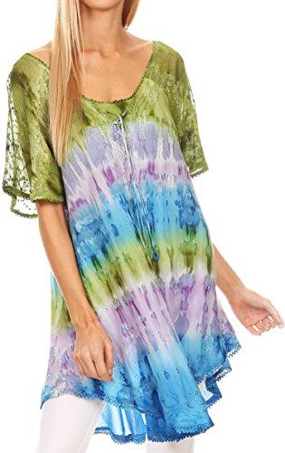 Sakkas 16786 - Monet Long Tall Tie Dye Ombre Embroidered Cap Sleeve Blouse Shirt Top - Green / Purple - OS
