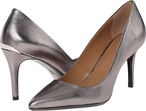 Calvin Klein Women's Gayle Pump, Anthracite Metallic Birch Leather - 9 B(M) US