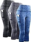 Neleus Women's 3 Pack Tummy Control High Waist Yoga Capri Leggings with Pockets,9034,Black,Grey,Blue,S,EU M
