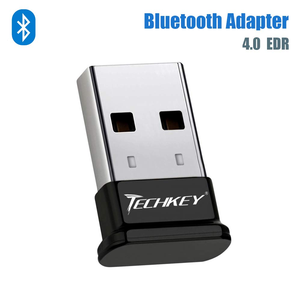 Bluetooth Adapter for PC USB Bluetooth Dongle 4.0 EDR Receiver TECHKEY Wireless Transfer for Stereo Headphones Laptop Windows 10, 8.1, 8, 7, Raspberry Pi, Linux Compatible by Techkey