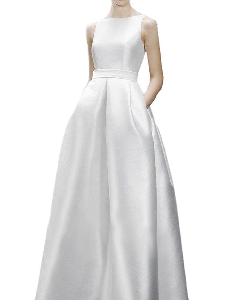 Hblld Womens Backless Silk Satin Wedding Dress Bridal Ball Gowns At