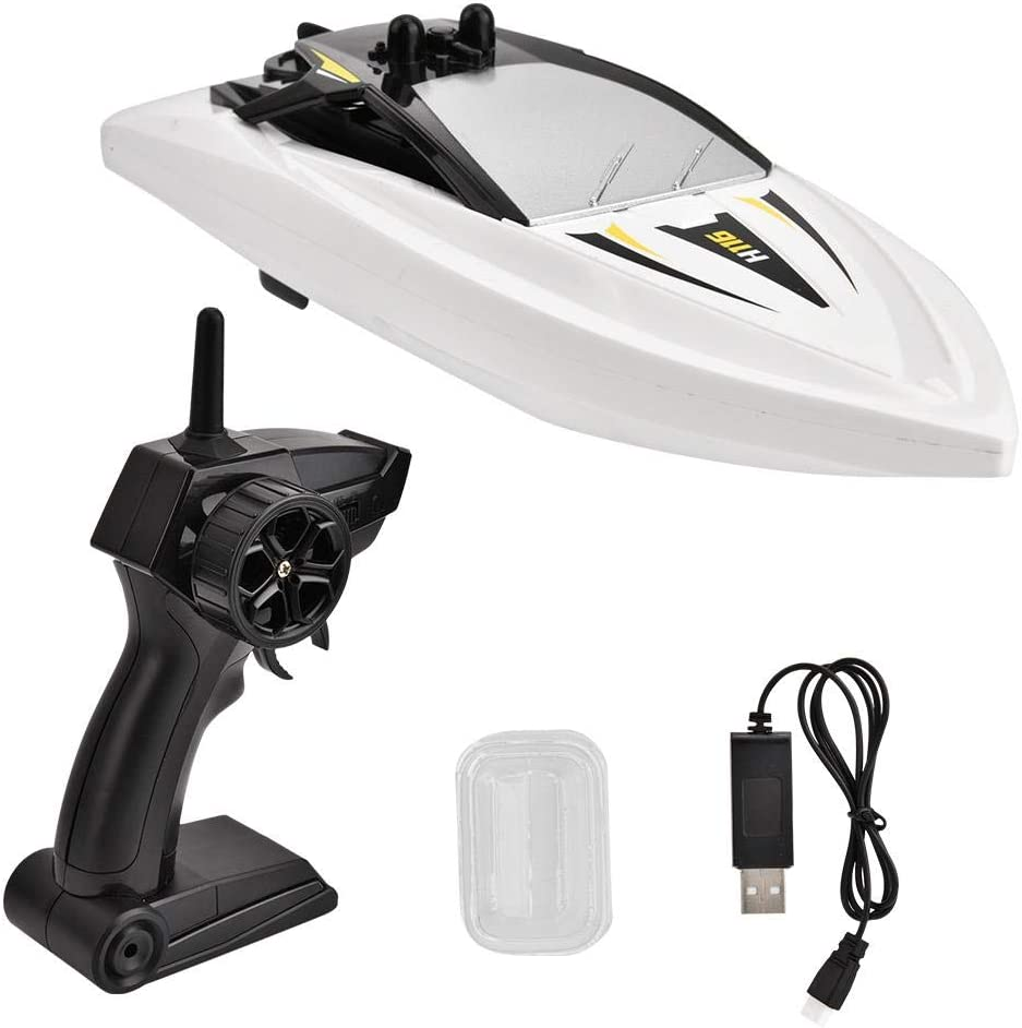 Electric High Speed 2.4GHz RC Racing Boats Ship Toy Model Gift for Children Kids Girls Boys Adults White Remote Control Speedboat