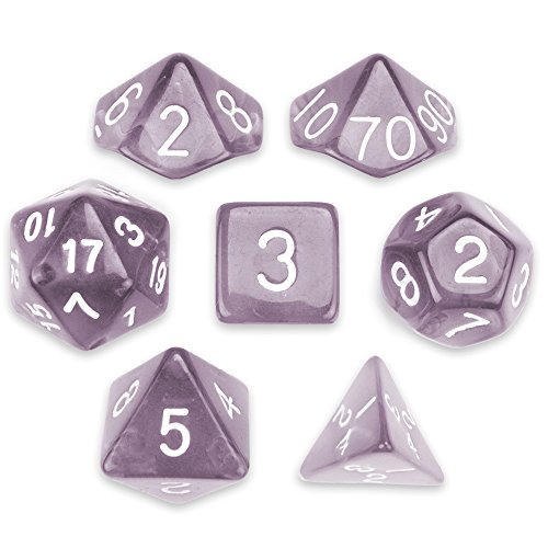 Series II Wiz Dice Set of 7 Polyhedral Dice in Velvet Pouch (DROWSKIN) (Felt Dice Bag)