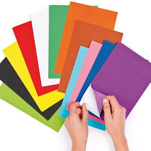 Baker Ross Self-Adhesive Felt Sheets 18 Assorted Designs | 8.6 inches x 5.9 inches (22cm x 15cm) | for Children's Collage & Craft Projects (Pack of 18)