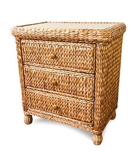 Wicker Paradise BL103 Key West Miramar Natural Fibers Three Drawer Chest, Large