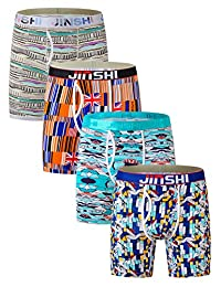 JINSHI Men's Boxer Briefs Long Leg Bamboo Underwear With Open Fly