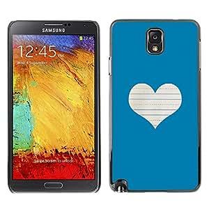 FECELL CITY // Duro Aluminio Pegatina PC Caso decorativo Funda Carcasa de Protección para Samsung Note 3 N9000 N9002 N9005 // Heart Love Notebook White